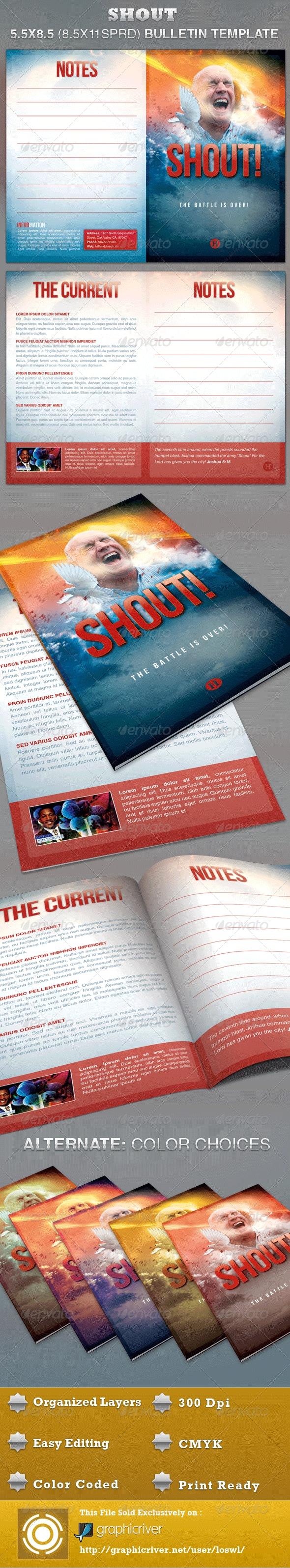 Shout Church Bulletin Template - Informational Brochures