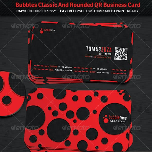 Bubbles Classic And Rounded QR Business Card