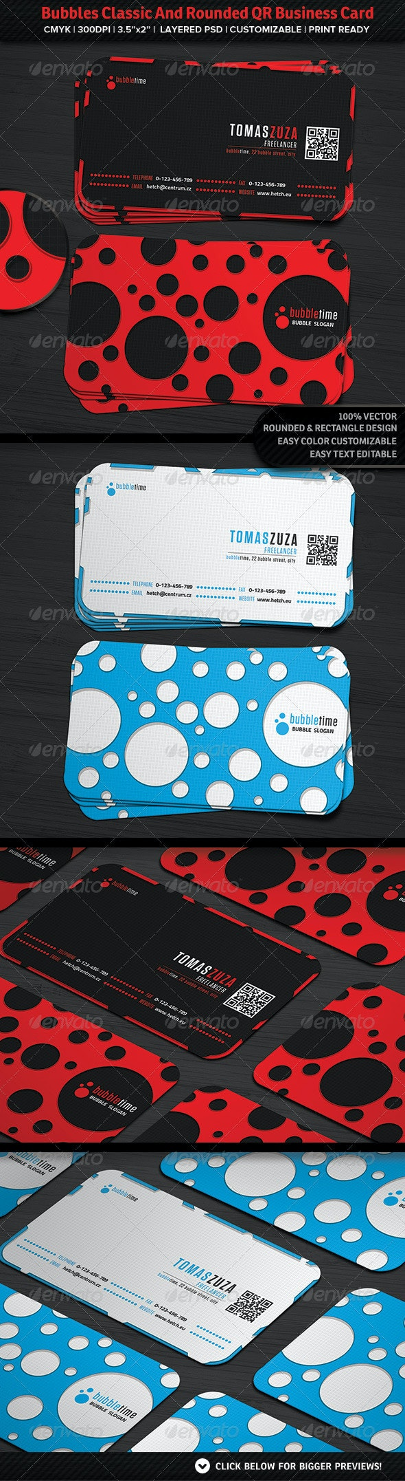 Bubbles Classic And Rounded QR Business Card - Corporate Business Cards