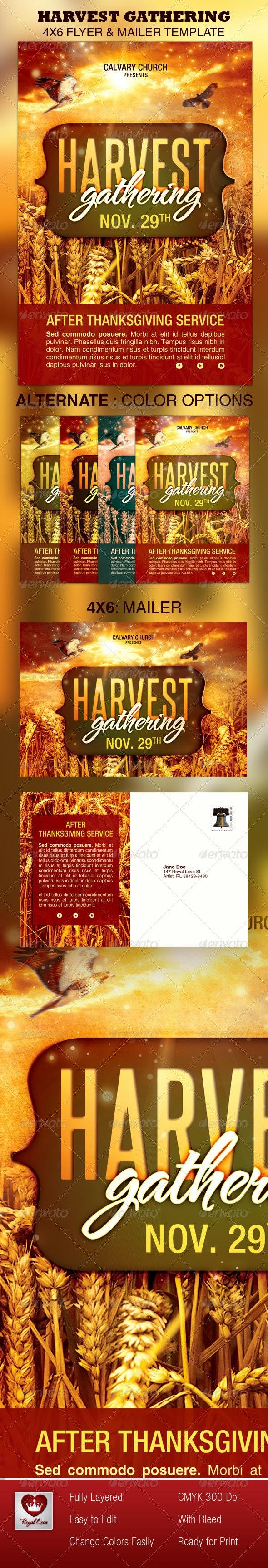 Harvest Gathering Church Flyer & Mailer Template - Church Flyers
