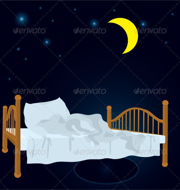 unmade bed in the night under stars - Objects Vectors