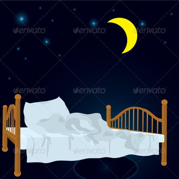 unmade bed in the night under stars