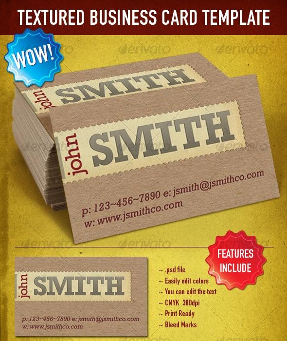 Textured & Letterpress Business Card Template - Retro/Vintage Business Cards