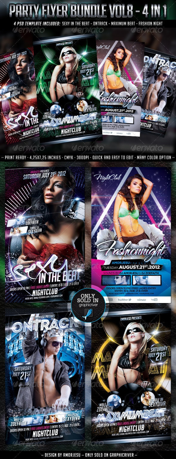 Party Flyer Bundle Vol8 - 4 in 1 - Events Flyers