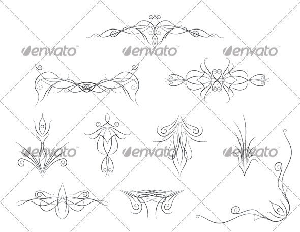 10 Fancy Flourishes - Flourishes / Swirls Decorative