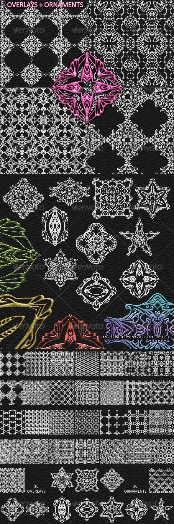 Decorlays - Seamless overlays + Ornaments - Patterns Decorative