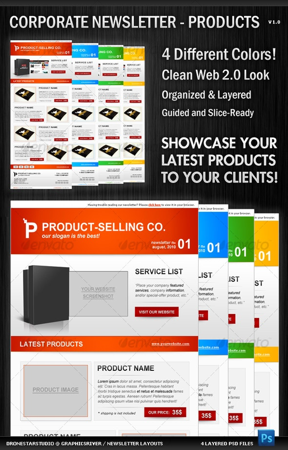 Corporate Newsletter Layout - Product Showcase - Newsletters Print Templates