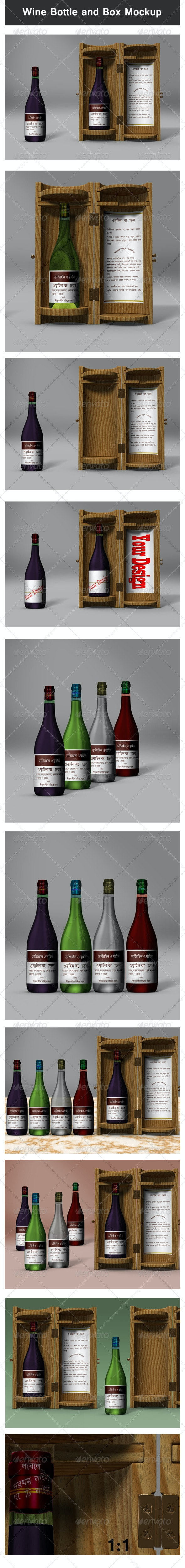 Wine Bottle and Box Mock-up - Food and Drink Packaging