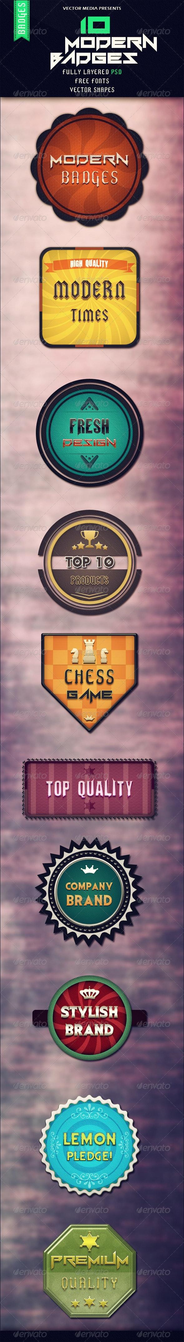 10 Modern Badges - Badges & Stickers Web Elements