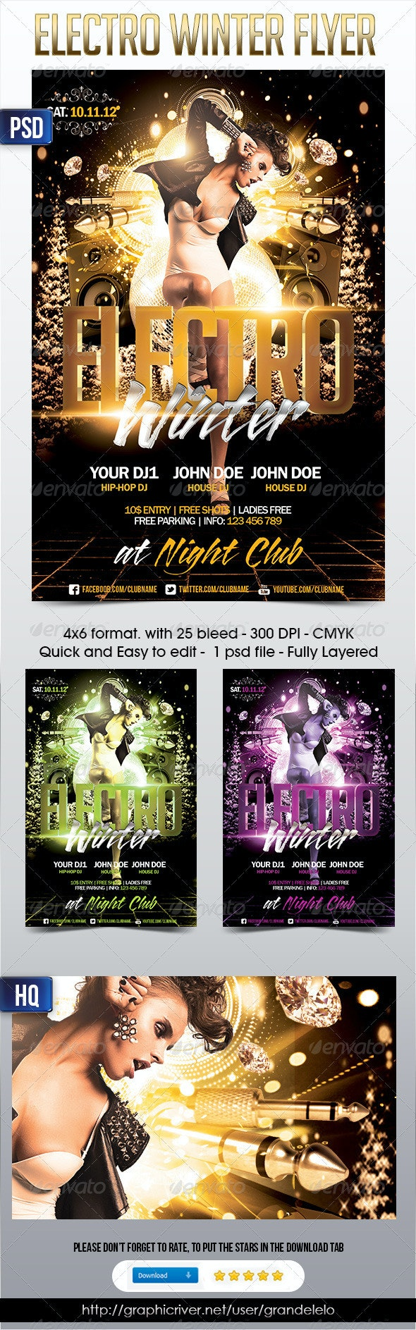 Electro Winter Flyer - Clubs & Parties Events