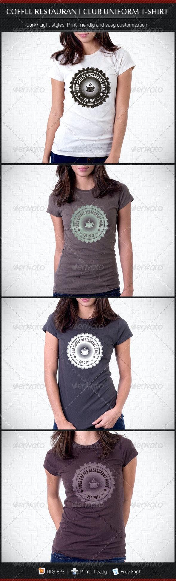 Coffee Restaurant Uniform T-Shirt Template - Business T-Shirts