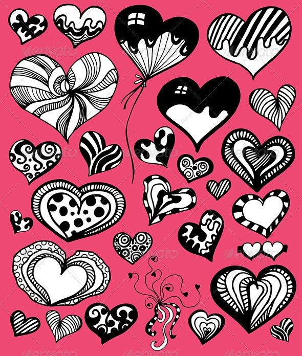 Doddle Heart Set - Valentines Seasons/Holidays
