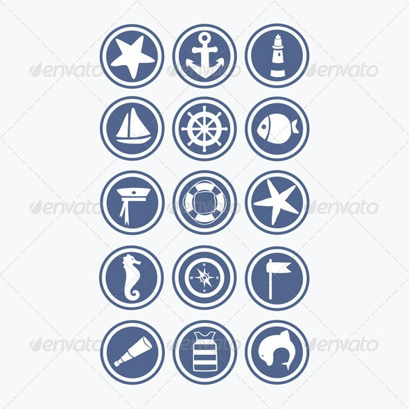 15 Vector Sea Icons  - Decorative Symbols Decorative