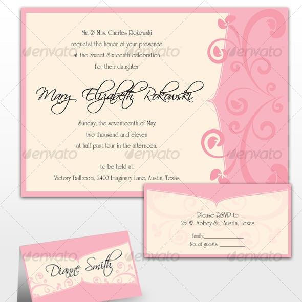 Mary Sweet Sixteen Invitations