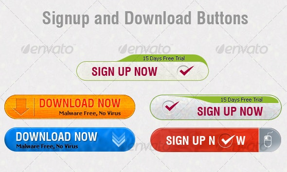Signup and Download Buttons - Buttons Web Elements