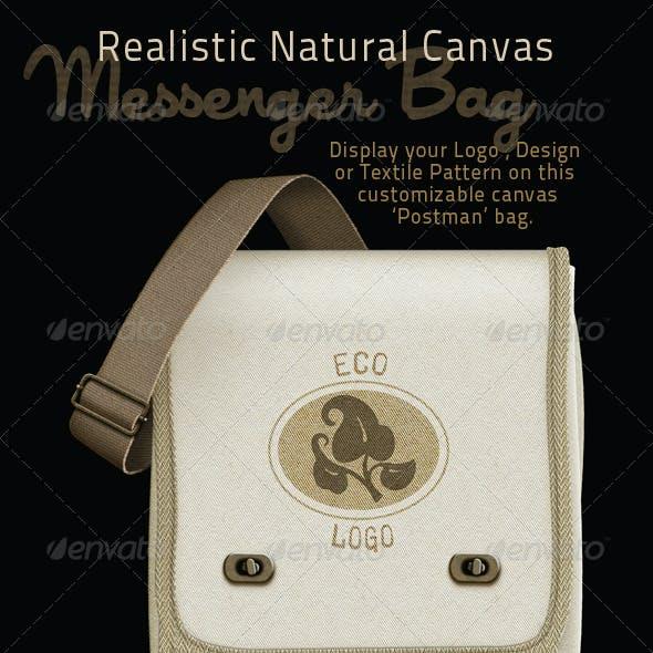 Canvas Messenger Bag Mock-up; Postman Style