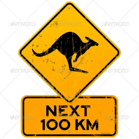 Roadsign Kangaroos Next 100 km - Objects Vectors