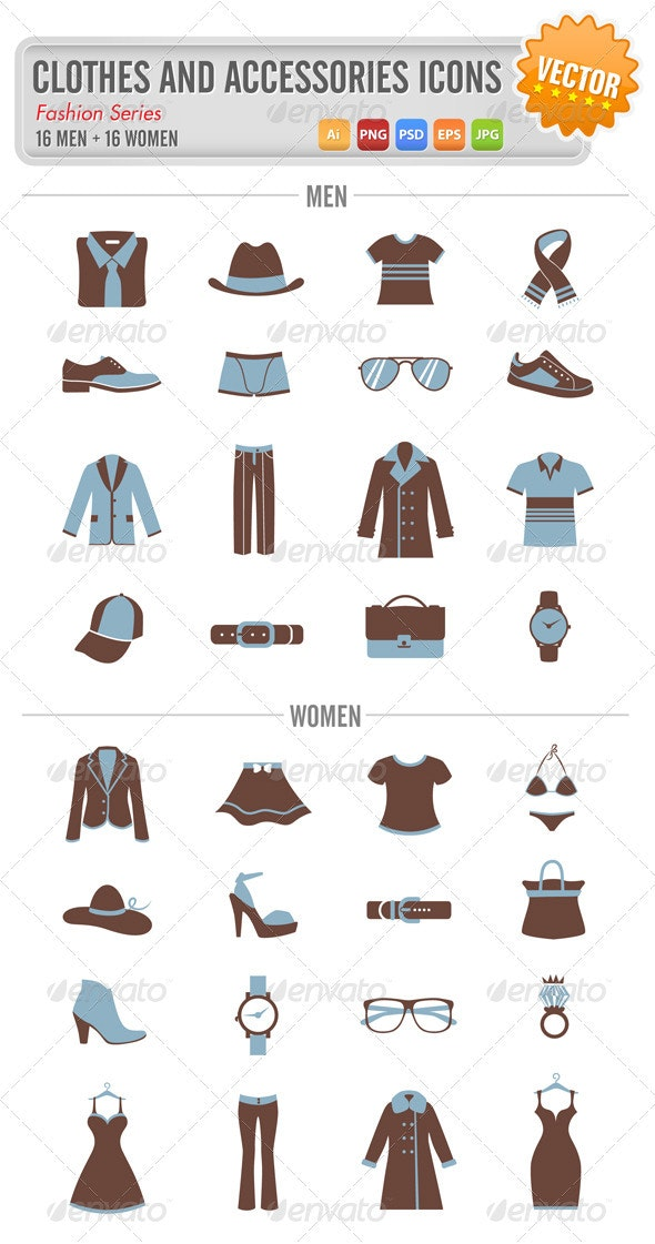 Clothes and accessories icons - Objects Vectors