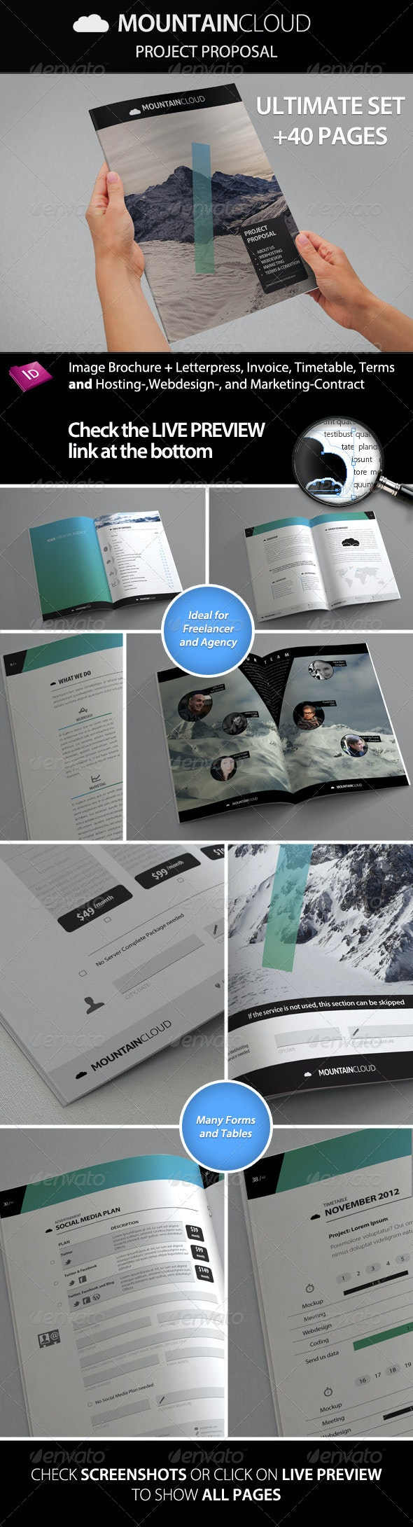 Mountain Cloud - Proposal with Contract & Invoice - Proposals & Invoices Stationery