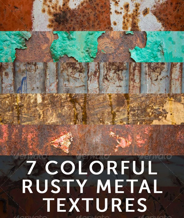 7 Colorful Rusty Metal Textures - Metal Textures