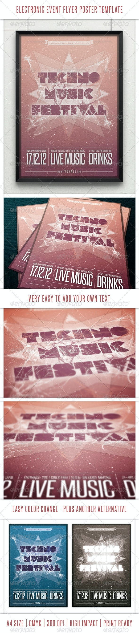 Electronic Event Flyer Poster Template - Events Flyers