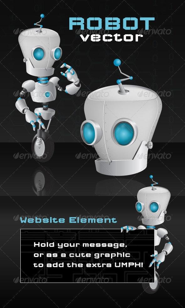 One Wheel Robot - Characters Vectors