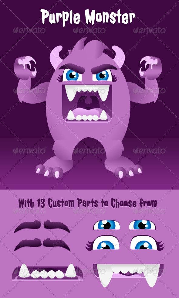 Purple Hairy Monster - Characters Vectors