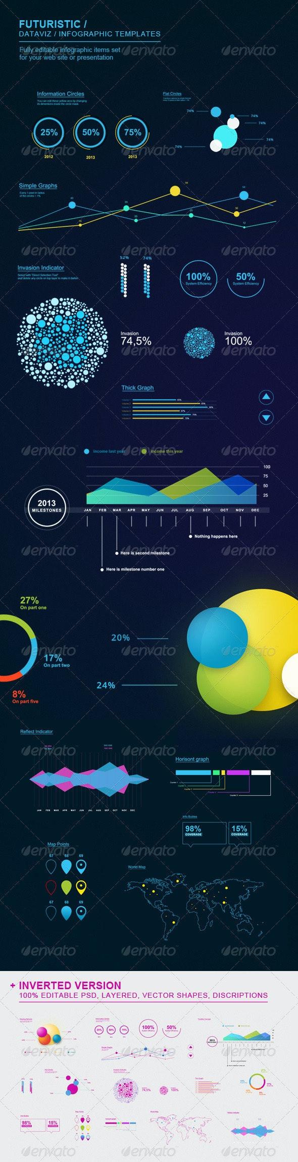 Futuristic Infographic Elements Set - Infographics