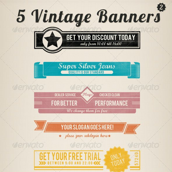 5 Vintage Retro Banners Set 2
