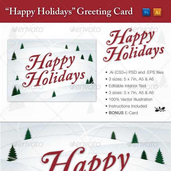 """Happy Holidays"" Seasonal Greeting Card"