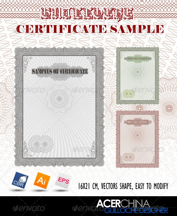 Guilloche Certificate Sample - Patterns Decorative