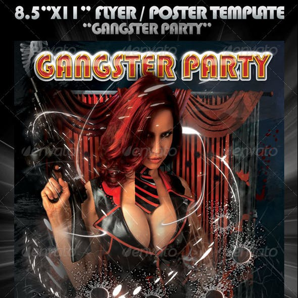 """8.5""""x11"""" Poster Template """"Gangsta Party"""""""