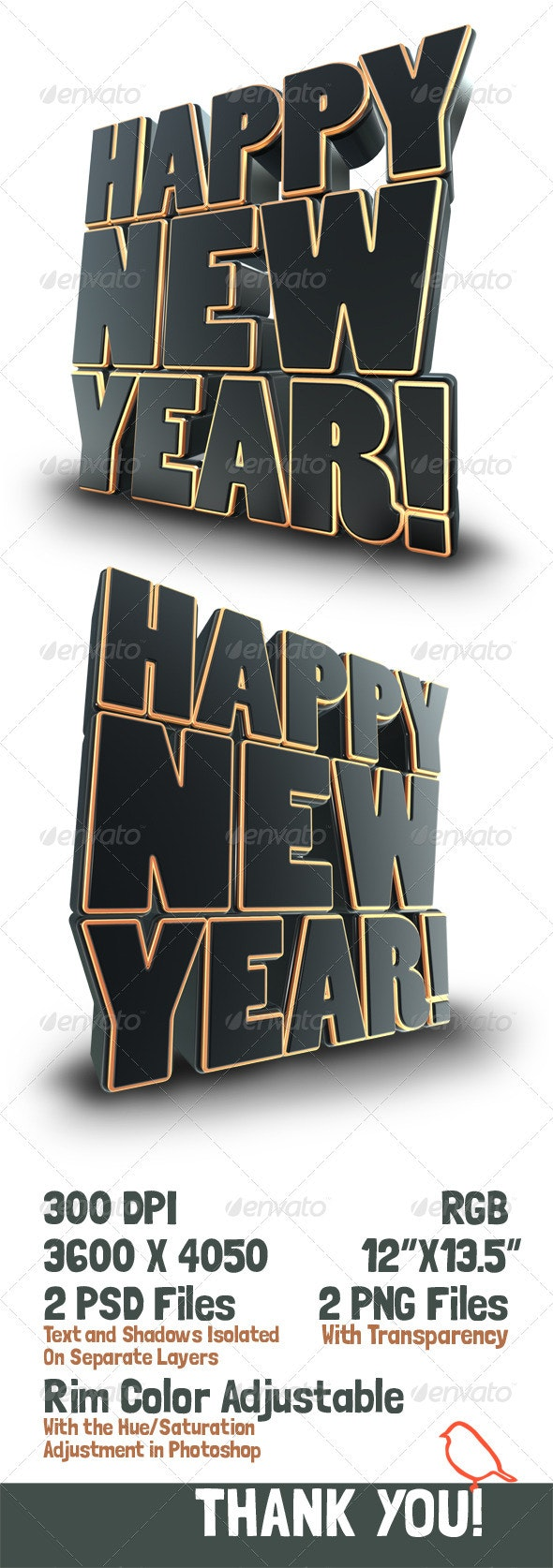 Happy New Year 3D Text Render - Text 3D Renders