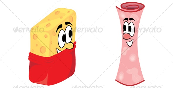 Cheese and Ham - Characters Vectors