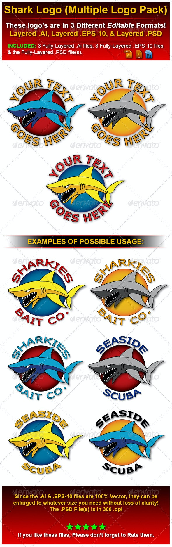 Shark Logo - Multi Logo Pack! - Objects Logo Templates