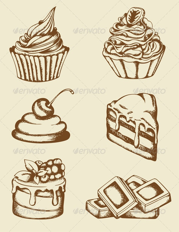 Vintage Cakes and Chocolate - Food Objects