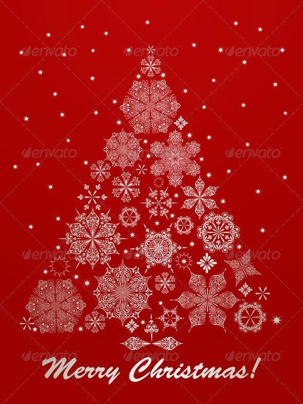 Vector Christmas Greeting Card with Fir Tree - Christmas Seasons/Holidays