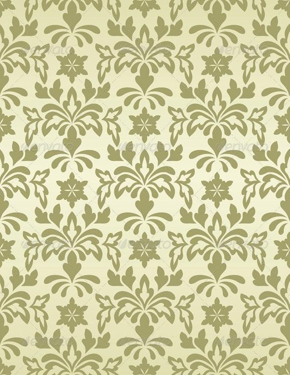 Vector Seamless Vintage Wallpaper Pattern - Patterns Decorative