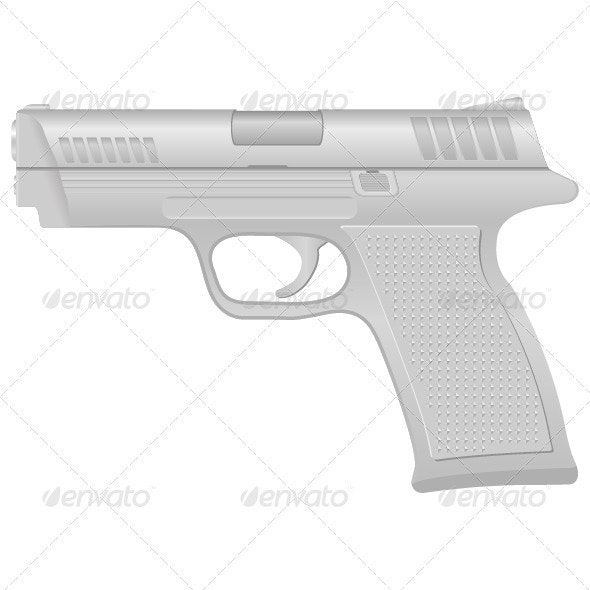 Silver pistol - Objects Vectors