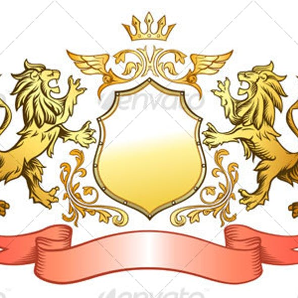 Golden Lions Shield and Crown Insignia