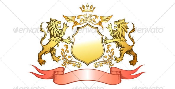 Golden Lions Shield and Crown Insignia - Backgrounds Decorative