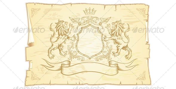 Ancient scroll with lions - Backgrounds Decorative