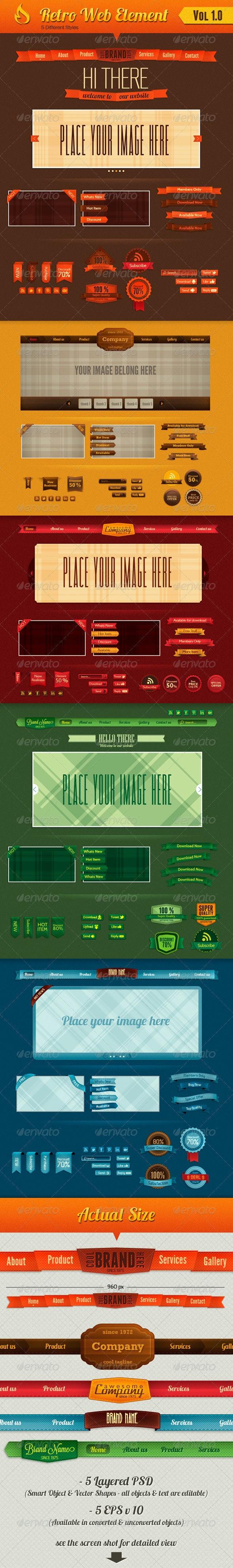 Retro Web Element - Navigation Bars Web Elements