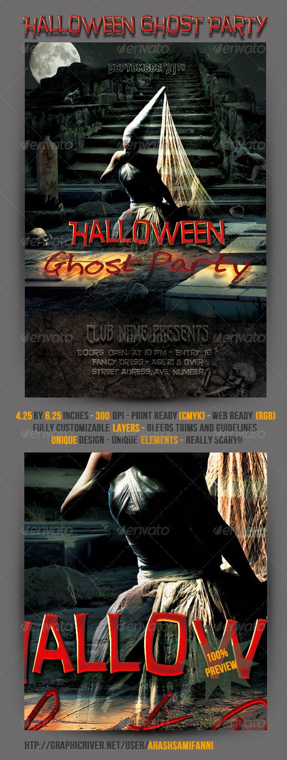 Halloween Ghost Party Flyer - Clubs & Parties Events