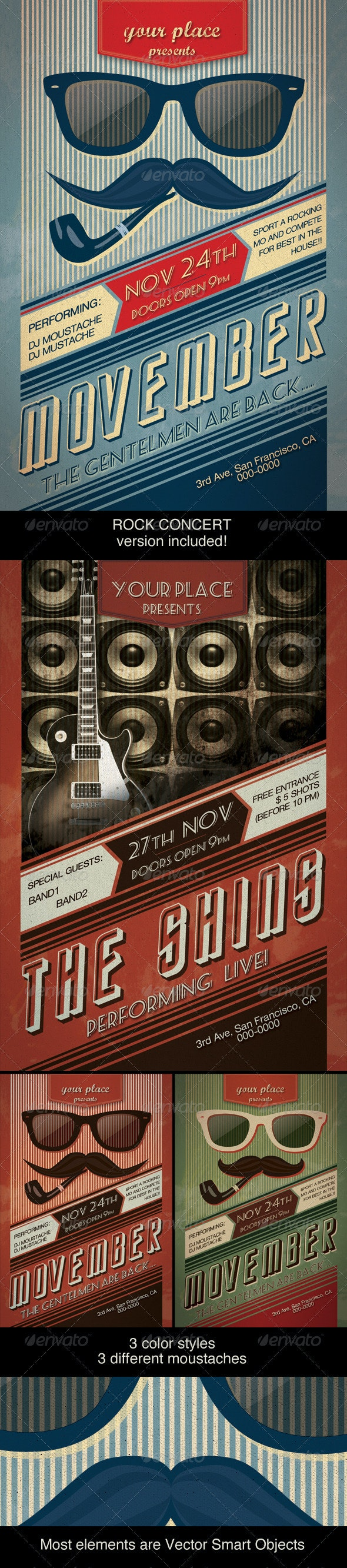Movember Retro Party Flyer - Clubs & Parties Events