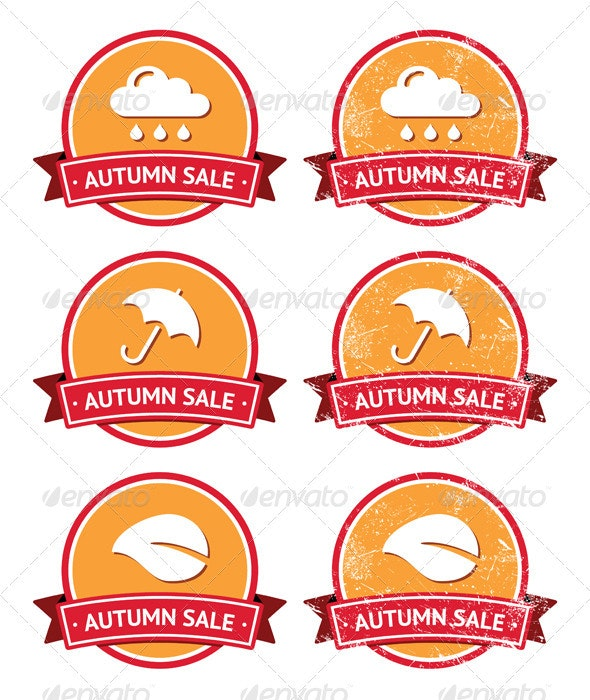 Autumn sale retro orange and red labels - grunge  - Retro Technology