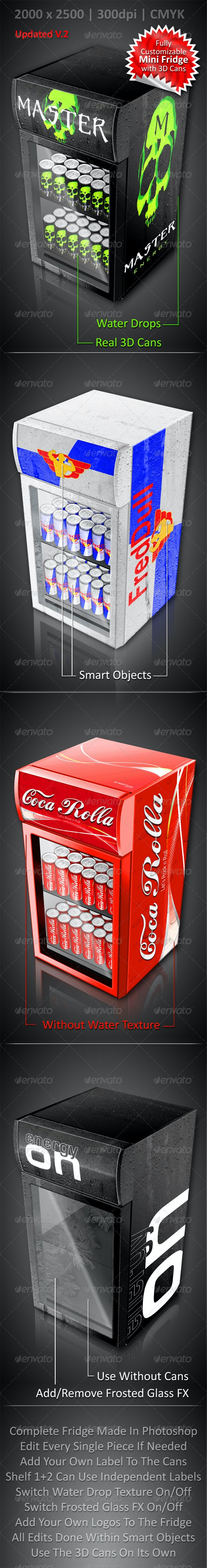 Energy Drink Soda Can Mini Fridge Mockup - Food and Drink Packaging