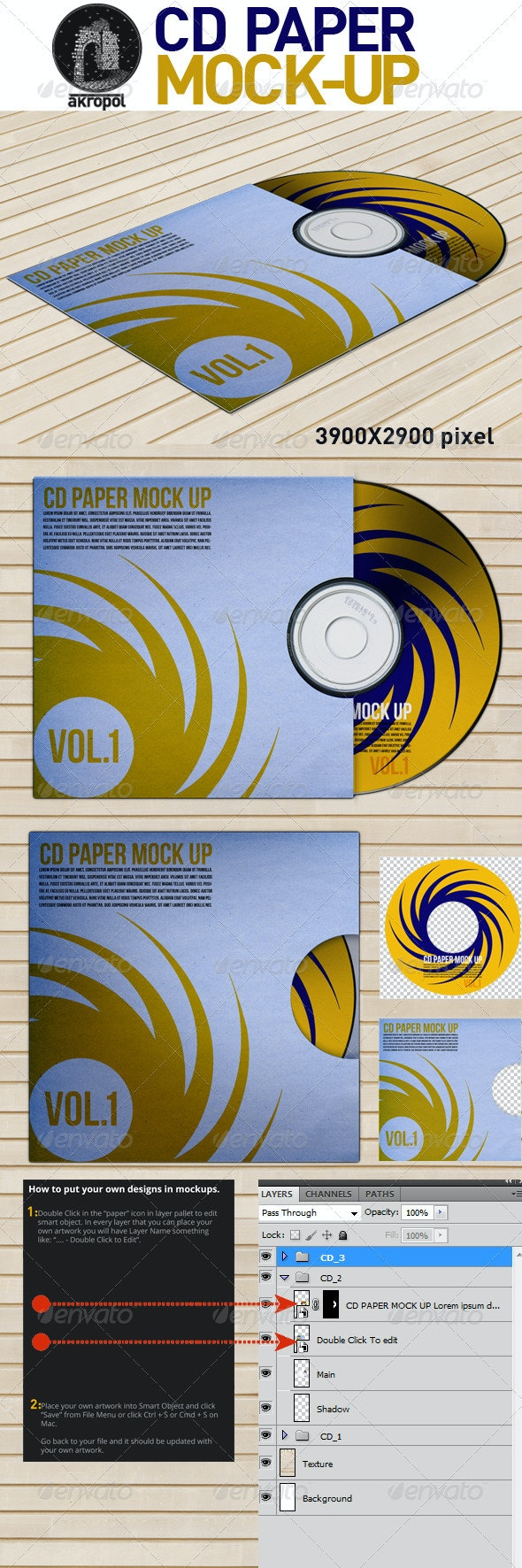 CD Paper Mock Up - Discs Packaging