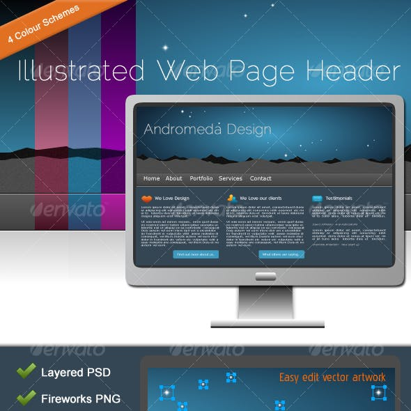 Illustrated Web Page Header