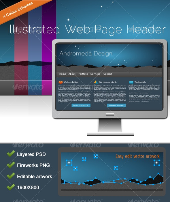 Illustrated Web Page Header - Backgrounds Graphics